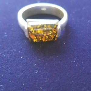 Amber and Sterling Silver Ring size 8.5